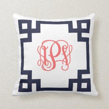 Beach Themed Navy and Coral Greek Key Script Monogram APV Throw Pillow