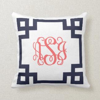 Navy and Coral Greek Key Script Monogram Pillows