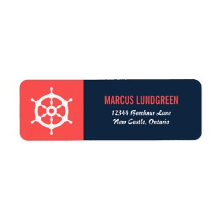 Navy and Coral Helm Nautical Return Address Label
