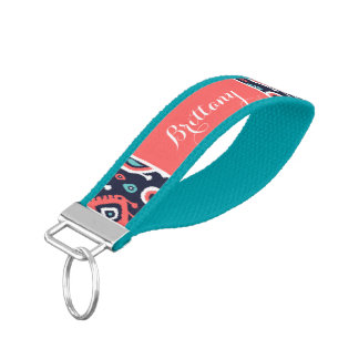 Navy and Coral Ikat Paisley Monogram Wrist Keychain