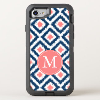 Navy and Coral Ikat Pattern Monogrammed OtterBox Defender iPhone 7 Case