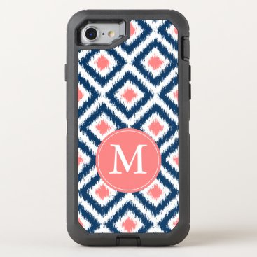heartlocked Navy and Coral Ikat Pattern Monogrammed OtterBox Defender iPhone 7 Case