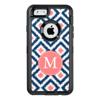 Navy and Coral Ikat Pattern Monogrammed OtterBox Defender iPhone Case