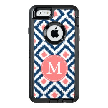 heartlocked Navy and Coral Ikat Pattern Monogrammed OtterBox Defender iPhone Case