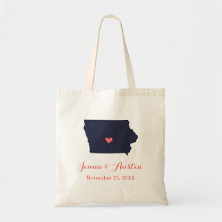 Navy and Coral Iowa Wedding Welcome Tote Bag