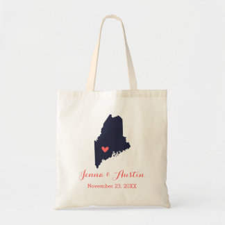 Navy and Coral Maine Wedding Welcome Tote Bag