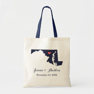 Navy and Coral Maryland Wedding Welcome Tote Bag