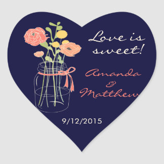 Navy and Coral Mason Jar Wedding Favor Stickers