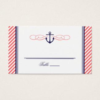 Navy and Coral Nautical Anchor Wedding Escort Card