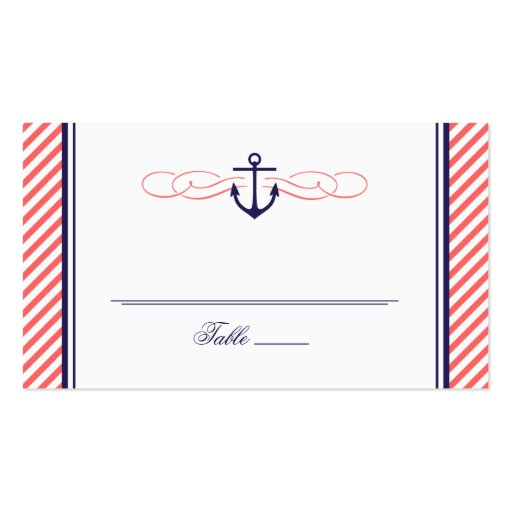 Navy and Coral Nautical Anchor Wedding Escort Card Business Cards