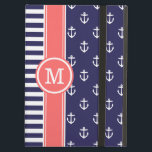 """Navy and Coral Nautical Anchors Monogram iPad Air Case<br><div class=""""desc"""">Cute girly mixed pattern design with preppy stripes and a nautical anchor pattern. Contrasting rugby stripe ribbon with your personalized monogram initial in a circle frame. Click Customize It to change monogram font and color to create your own unique one of a kind design.</div>"""