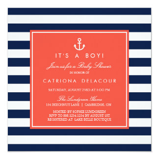 Navy and Coral Nautical Baby Shower Invitation