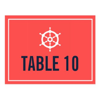 Navy and Coral Nautical Helm Table Number Postcard