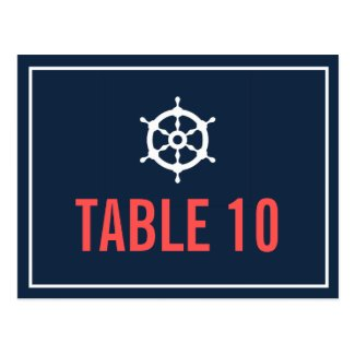 Navy and Coral Nautical Table Number Postcard