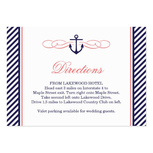 Navy and Coral Nautical Wedding Insert Card Business Card Template