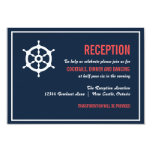 "Navy and Coral Nautical Wedding Reception Card 3.5"" X 5"" Invitation Card"