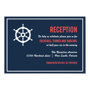 Navy and Coral Nautical Wedding Reception Card 3.5