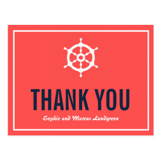 Navy and Coral Nautical Wedding Thank You Postcard