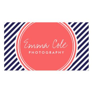 Navy and Coral Preppy Stripes Double-Sided Standard Business Cards (Pack Of 100)