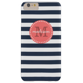 Navy and Coral Preppy Stripes Custom Monogram Barely There iPhone 6 Plus Case