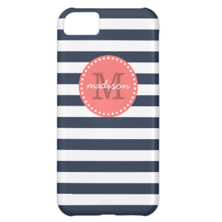 Navy and Coral Preppy Stripes Custom Monogram Case For iPhone 5C
