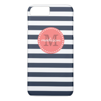 Navy and Coral Preppy Stripes Custom Monogram iPhone 7 Plus Case