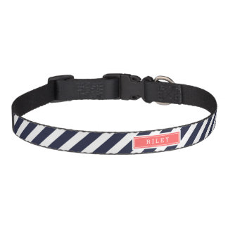 Navy and Coral Preppy Stripes Monogram Pet Collar