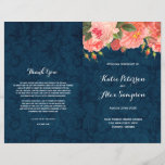 """Navy and Coral Shabby Chic Floral Wedding Programs<br><div class=""""desc"""">Navy and Coral Shabby Chic Floral Wedding Programs. Designed by Colourful Designs Inc. Copyright 2015</div>"""