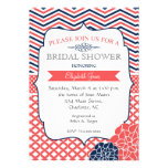 Navy and Coral Vintage  Bridal shower Invitation