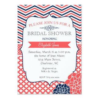 Navy and Coral Vintage  Bridal shower Invitation