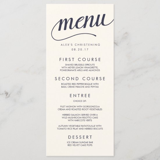 Navy and Cream Calligraphy Menu Card