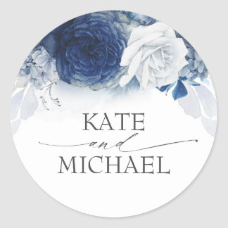 Navy and Dusty Blue Floral Wedding Classic Round Sticker