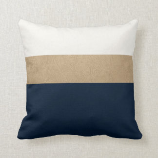 navy and faux gold leather throw pillow
