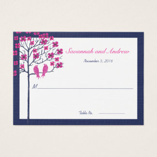 Navy and Fuchsia Vintage Birds Wedding Place Card