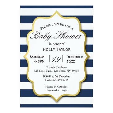 Beach Themed Navy and Gold Baby Shower Invitation