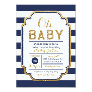 Navy And Gold Baby Shower Invitation, Baby Boy Card at Zazzle