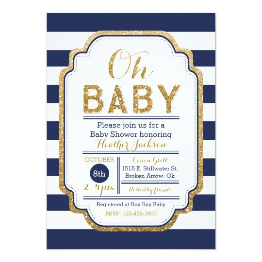 Navy And Gold Baby Shower Invitation Baby boy Card Zazzlecom