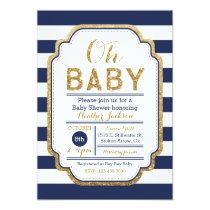 Navy And Gold Baby Shower Invitation, Baby boy Invitation