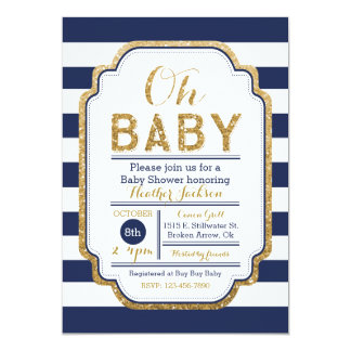 Navy And Gold Baby Shower Invitation, Baby boy Invitation