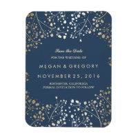 Navy and gold Baby's Breath Save the Date Rectangular Photo Magnet