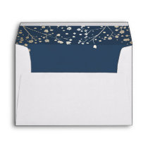 navy and gold baby's breath wedding envelope
