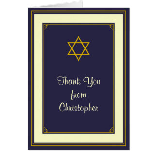 Navy and Gold Bar Mitzvah Thank You Card