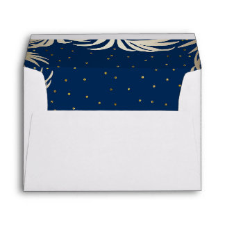 Navy and Gold Beach Palm Leaves Wedding Envelope