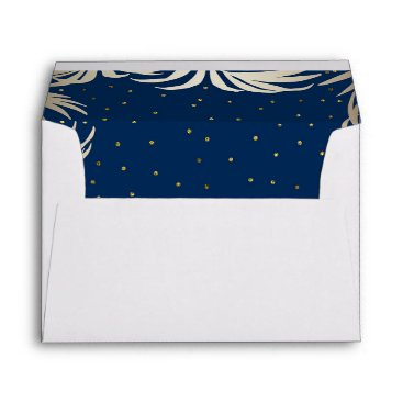 Beach Themed Navy and Gold Beach Palm Leaves Wedding Envelope