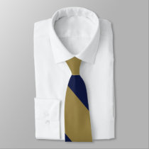 Navy and Gold Broad Broad University Stripe Neck Tie