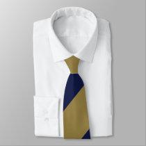 Navy and Gold Broad Regimental Stripe Neck Tie
