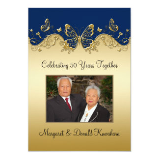 Navy and Gold Butterflies 50th Photo Anniversary Card
