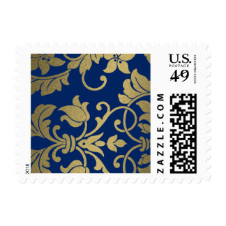 Navy and Gold  Damask Brocade Baroque Postage