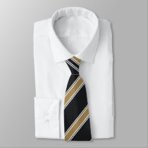 Navy and Gold Diagonally-Striped Tie
