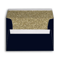 Navy and Gold FAUX glitter Envelope